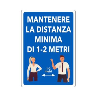 """CARTELLO ALL.30X20  04801050 """"MANTENERE LA DISTANZA MINIMA DI 1-2 METRI"""""""