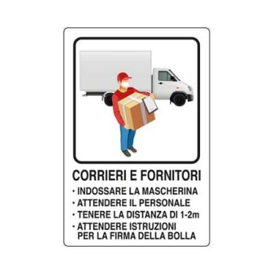 """CARTELLO 30X20  06905070 """"CORRIERI E FORNITORI INDOSSARE LA MASCHERINA"""