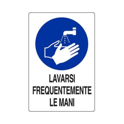 """CARTELLO ALLUMINIO 30X20  M0113030 """"LAVARSI FREQUENTEMENTE LE MANI"""""""