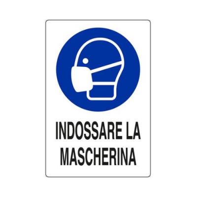 """CARTELLO IN ALLUMINIO 30X20  M0160020 """"INDOSSARE LA MASCHERINA"""""""