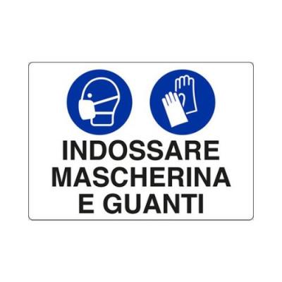 "CARTELLO IN ALLUMINIO 30X20  U1902000 ""INDOSSARE MASCHERINA E GUANTI"""