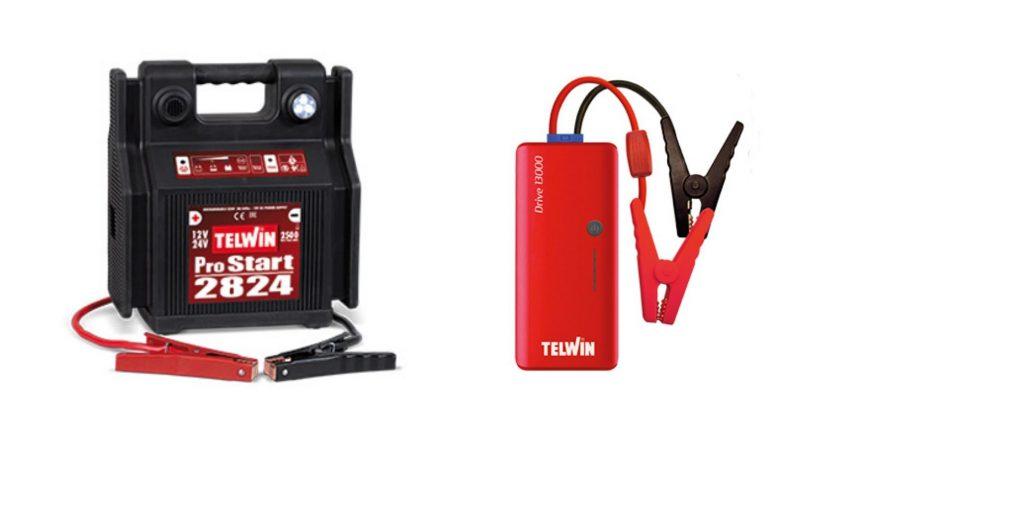 Avviatore portatile a batteria 12- 24 V Pro Start 2824. Avviatore multifunzione Telwin Drive 13000.
